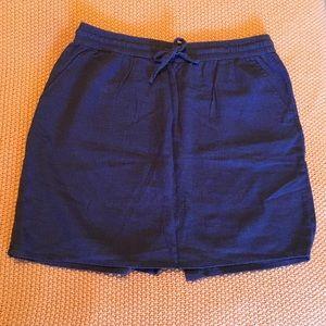 Blue faux denim linen skirt